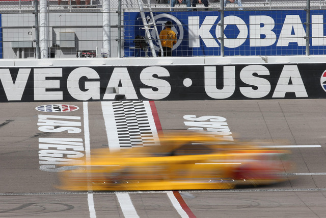 NASCAR Sprint Cup Series driver and native Las Vegan Kyle Busch drives across the start/finish line during the first practice session for the Kobalt 400 at Las Vegas Motor Speedway in Las Vegas Fr ...