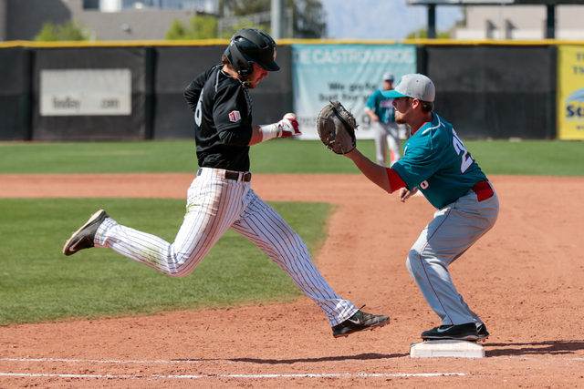 UNLV sophomore Payton Squier, left, shown last season, had three of the Rebels' four hits Saturday in their 6-0 loss to host Cal State Fullerton. (Donavon Lockett/Las Vegas Review-Journal)