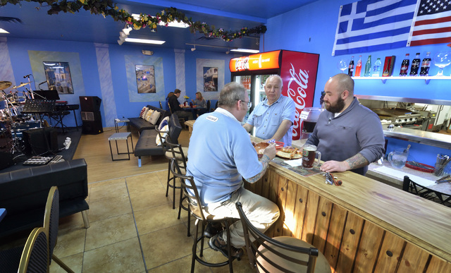 Part of the interior of Yanniճ Greek Grill is shown at 9620 Las Vegas Blvd. South in Las Vegas on Friday, April 15, 2016. Bill Hughes/Las Vegas Review-Journal