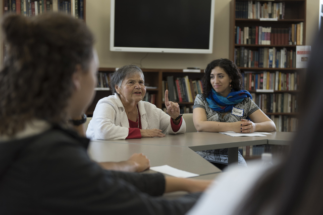 Jean Arin, second from left, talks to teenagers about her relationship to the Yiddish culture of Eastern Europe during the Intergenerational workshop at Yiddish Las Vegas: A Music & Culture Fe ...