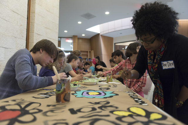 Isaac Antflick, 15, left, and Dee Dee Woodberry, right, work on a collaborative art project at Yiddish Las Vegas: A Music & Culture Festival at Temple Sinai in Las Vegas Sunday, April 10, 2016 ...