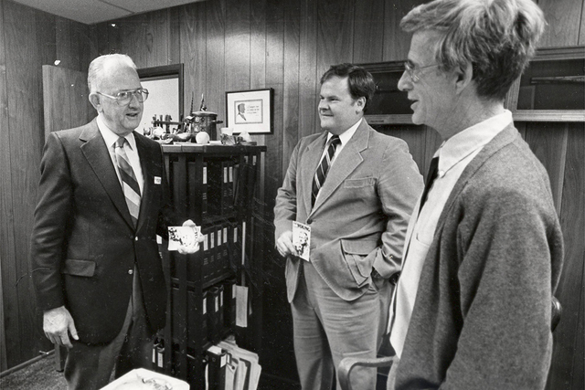 Cliff Young (left,) a former Nevada congressman, state legislator and Supreme Court justice at law office of David Polley (right) and Terry Marren. October 17, 1984. (Las Vegas Review-Journal file)
