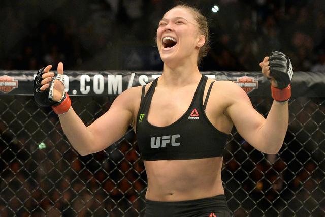 Ronda Rousey reacts after defeating Cat Zingano at UFC 184 at Staples Center in 2015. (Jayne Kamin/USA Today)