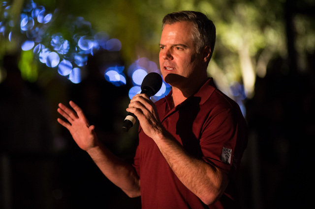 MGM Resorts Chairman and CEO Jim Murren speaks during the lighting ceremony for the 40-foot tall Bliss Dance sculpture at The Park on the Strip in Las Vegas on Monday, April 6, 2016. (Chase Steven ...