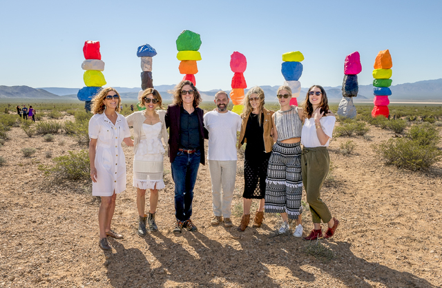 Members of Art Production Fund and the Nevada Museum of Art join artist Ugo Rondinone to celebrate the opening of Rondinone's Seven Magic Mountains on Monday, May 9, 2016. (Mark Damon/Las Vegas Ne ...