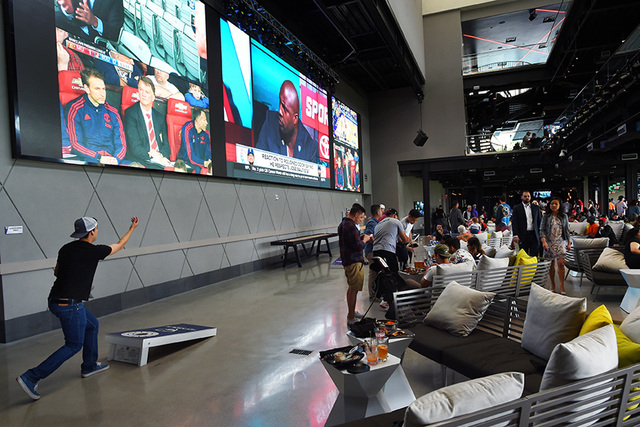 "A large open area suitable for events is seen during a ""friends and family"" day Tuesday, May 17, 2016, at Topgolf in advance of its grand opening. (Sam Morris/Las Vegas News Bureau)"