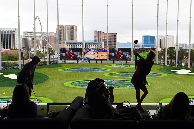 "Guests hit balls during a ""friends and family"" day Tuesday, May 17, 2016, at Topgolf in advance of its grand opening. (Sam Morris/Las Vegas News Bureau)"