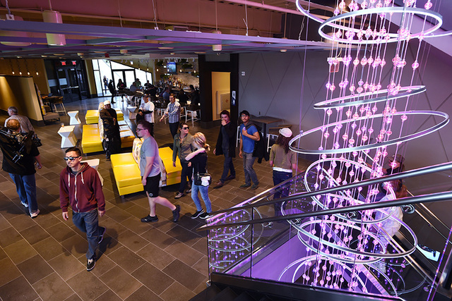 "Guest pass through a second floor lobby during a ""friends and family"" day Tuesday, May 17, 2016, at Topgolf in advance of its grand opening. (Sam Morris/Las Vegas News Bureau)"