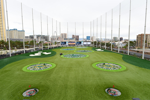 "The driving range is seen during a ""friends and family"" day Tuesday, May 17, 2016, at Topgolf in advance of its grand opening. (Sam Morris/Las Vegas News Bureau)"