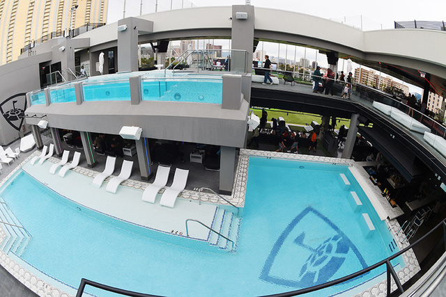 "Two pools are seen during a ""friends and family"" day Tuesday, May 17, 2016, at Topgolf in advance of its grand opening. (Sam Morris/Las Vegas News Bureau)"