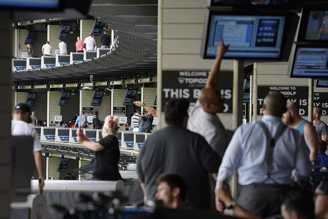 "Multiple levels of driving bays are seen during a ""friends and family"" day Tuesday, May 17, 2016, at Topgolf in advance of its grand opening. (Sam Morris/Las Vegas News Bureau)"
