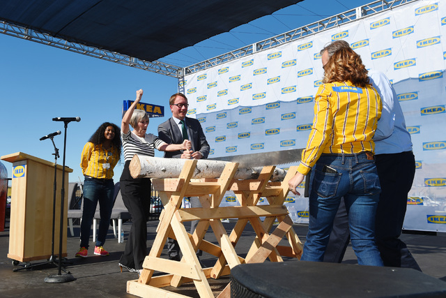 From left, Clark County Commissioner Susan Brager, Deputy Chief of Mission for the Swedish Embassy Goran Lithell, store manager Amy Jensen and IKEA U.S. President Lars Petersson take part in a cer ...