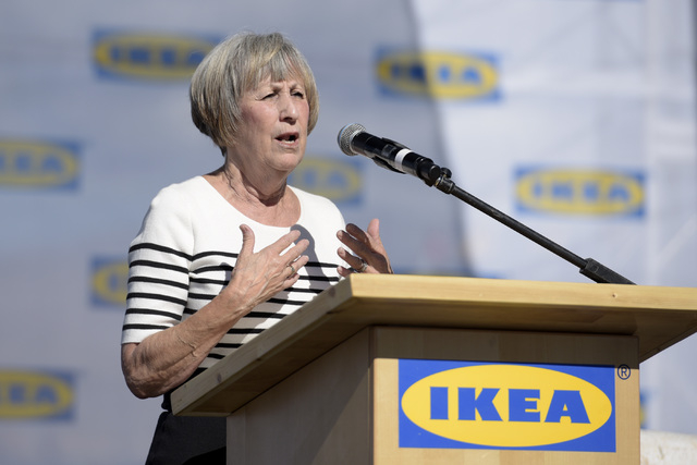 Clark County Commissioner Susan Brager speaks during the grand opening of Nevada's first IKEA home furnishings store Wednesday, May 18, 2016.  (Sam Morris/Las Vegas News Bureau)