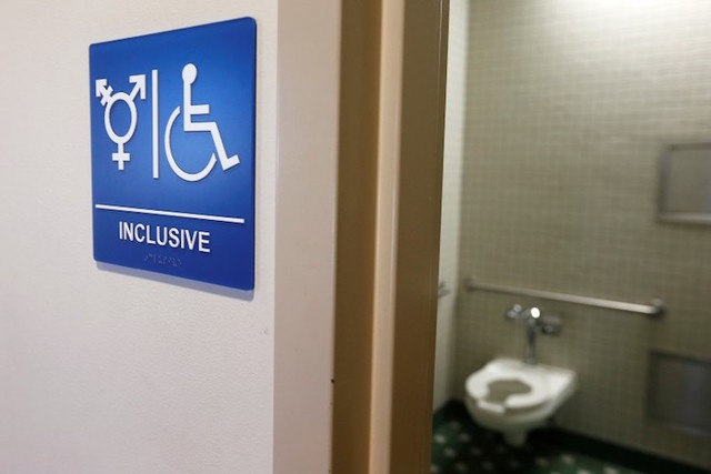 A gender-neutral bathroom is seen at the University of California, Irvine in Irvine, California. (Lucy Nicholson/REUTERS)
