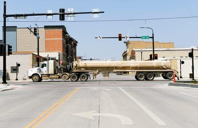 A tanker truck drives through downtown Williston, North Dakota, U.S. May 15, 2016. (Andrew Cullen/Reuters)