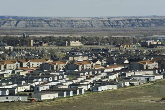 A trailer park that was developed during the Bakken oil boom is seen in Williston, North Dakota April 30, 2016. (Andrew Cullen/Reuters)