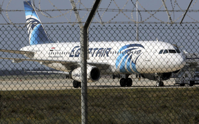 An Egyptair Airbus A320 airbus stands on the runway at Larnaca Airport in Larnaca, Cyprus , March 29, 2016.      (Yiannis Kourtoglou/Reuters)