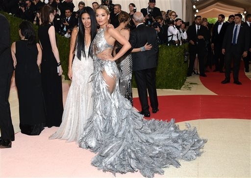 "Vera Wang, left, and Rita Ora arrive at The Metropolitan Museum of Art Costume Institute Benefit Gala, celebrating the opening of ""Manus x Machina: Fashion in an Age of Technology"" on Monday, May  ..."