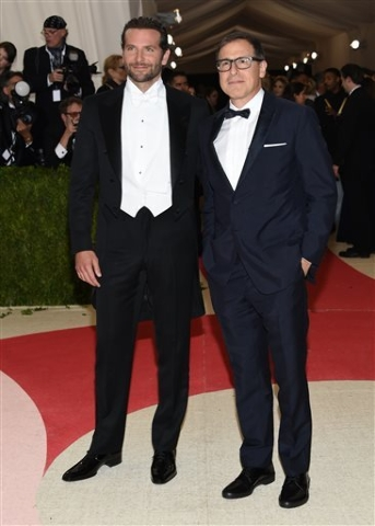 "Bradley Cooper, left, and David O. Russell arrive at The Metropolitan Museum of Art Costume Institute Benefit Gala, celebrating the opening of ""Manus x Machina: Fashion in an Age of Technology"" on ..."