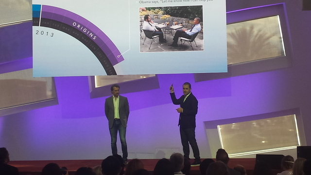 Hyperloop One Chief Technology Officer Brogan BamBrogan and Executive Chairman Shervin Pishevar explain the company's history at a gathering of journalists and VIPs in downtown Las Vegas' Clevelan ...