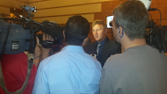"""Retired professional e-sports player Jonathan """"Fatal1ty"""" Wendel addresses the media after his presentation before the Nevada Gaming Policy Committee at the Clark County Commission chambers on Frid ..."""