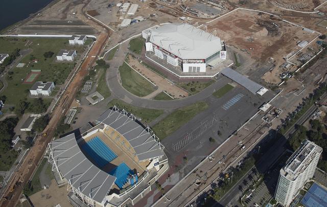 The Olympic Arena, top, and the Maria Lenk Aquatics Center under construction in Rio de Janeiro, Brazil, June 27, 2014. (Leo Correa/AP)