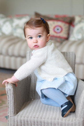 Britain's Princess Charlotte poses for a photograph at Anmer Hall, in Norfolk, England in this undated photo. The princess celebrates her first birthday on Monday.  (Kate, the Duchess of Cambridge ...
