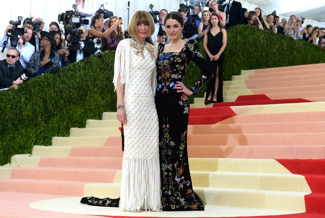"Anna Wintour, left, and Bee Shaffer arrive at The Metropolitan Museum of Art Costume Institute Benefit Gala, celebrating the opening of ""Manus x Machina: Fashion in an Age of Technology"" on Monday ..."