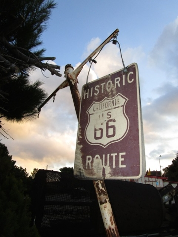 This undated photo provided by the American Indian Alaska Native Tourism Association shows the Route 66 sign near the historic Summit Inn at the end of Cajon Pass in California. The association is ...