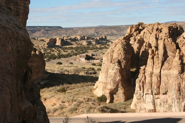 This November 2014 photo provided by the American Indian Alaska Native Tourism Association shows the view from the road to Sky City at Acoma Pueblo, N.M. The pueblo is one of more than two dozen t ...