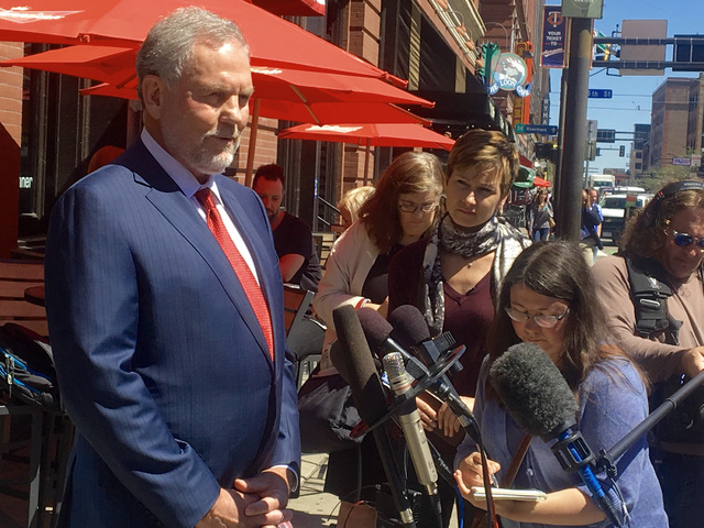 Attorney William Mauzy answers questions from the media as he arrives at his Minneapolis office Wednesday, May 4, 2016. Mauzy represents California Dr. Howard Kornfeld who couldn't immediately mee ...