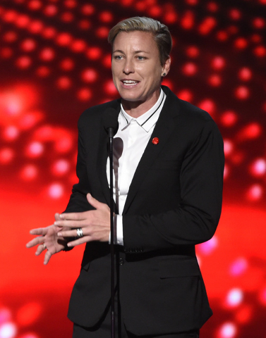 In this Wednesday, July 15, 2015 file photo Abby Wambach speaks at the ESPY Awards in Los Angeles. (Photo by Chris Pizzello/Invision/AP, File)