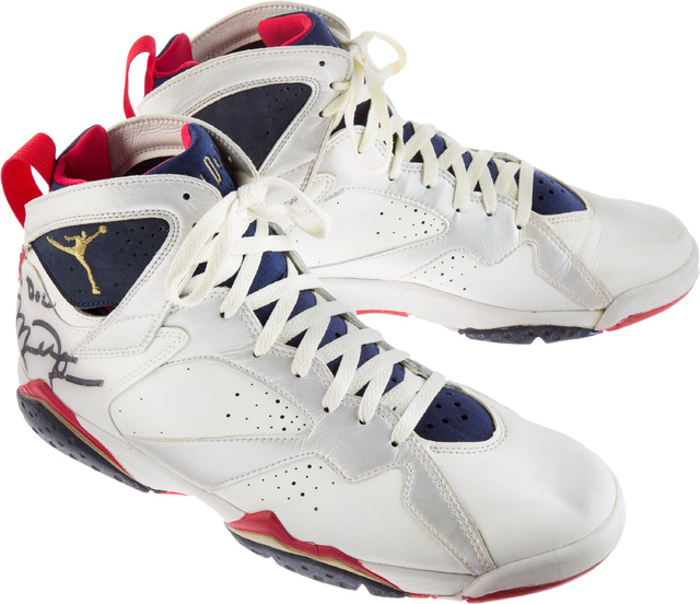 """This April 27, 2016 photo courtesy of Heritage Auctions shows Michael Jordan's 1992 Barcelona Olympics """"Dream Team"""" signed basketball shoes presented by Jordan to Dr. David A. Fi ..."""