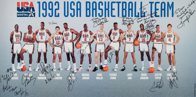 """This April 27, 2016 photo courtesy of Heritage Auctions shows a 36"""" x 18"""" signed poster of the """"1992 USA Baseball Team"""" personalized from the players to Dr. David A. Fischer, the team physician. ( ..."""