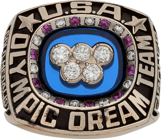 """This April 27, 2016 photo courtesy of Heritage Auctions shows the Olympic ring given to 1992 """"Dream Team"""" physician Dr. David A. Fischer. Dr. Fischer's ring is identical in desig ..."""