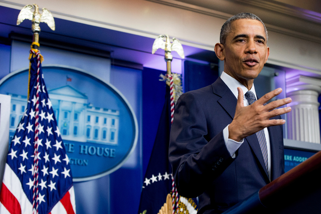 President Barack Obama answers a question from a member of the media while speaking in the White House briefing room in Washington, Friday, May 6, 2016. (Andrew Harnik/AP)
