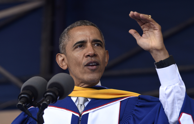 President Barack Obama gives his commencement address to the 2016 graduating class of Howard University in Washington, Saturday, May 7, 2016.   (Susan Walsh/Associated Press)