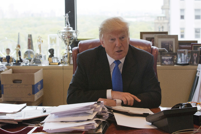 Republican presidential candidate Donald Trump speaks during an interview in his office at Trump Tower, Tuesday, May 10, 2016, in New York. (Mary Altaffer/AP)