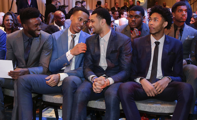 From left, NBA draft prospects Jaylen Brown, Skal Labissiere, Jamal Murray and Brandon Ingram talk before the start of the NBA basketball draft lottery, Tuesday, May 17, 2016, in New York. (AP Pho ...