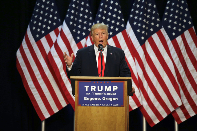 Republican presidential candidate Donald Trump speaks during a rally in Eugene, Ore. on May 6, 2016.  (AP Photo/Ted S. Warren, File)
