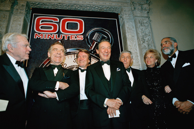 "The ""60 Minutes"" team, from left, Andy Rooney, Morley Safer, Steve Kroft, Mike Wallace, executive producer Don Hewitt, Lesley Stahl and Ed Bradley pose at the Metropolitan Museum of Art in New Yor ..."