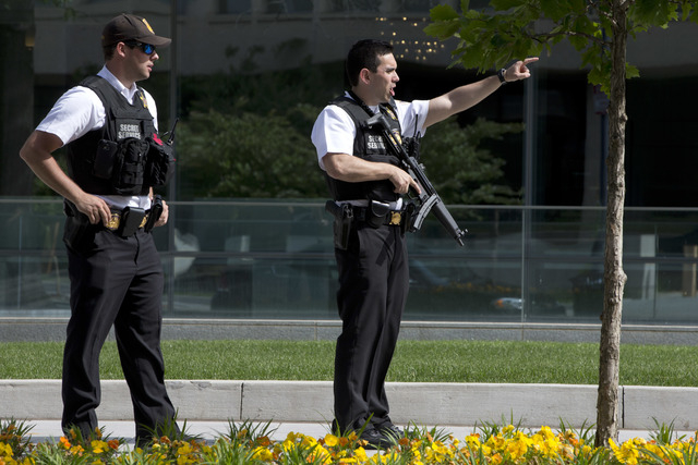 Secret Service Police Officers tell pedestrians to get back on State Place Northwest near the White House in Washington, Friday, May 20, 2016, after the White House was placed on a security alert  ...