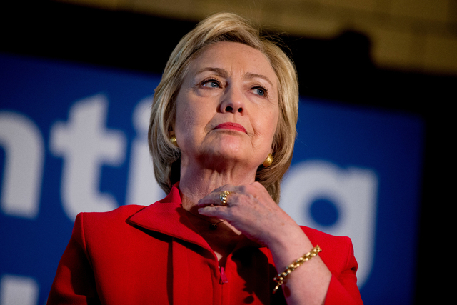 In this May 16, 2016 photo, Democratic presidential candidate Hillary Clinton waits to speak at a get out the vote event at La Gala in Bowling Green, Ky. (AP Photo/Andrew Harnik)