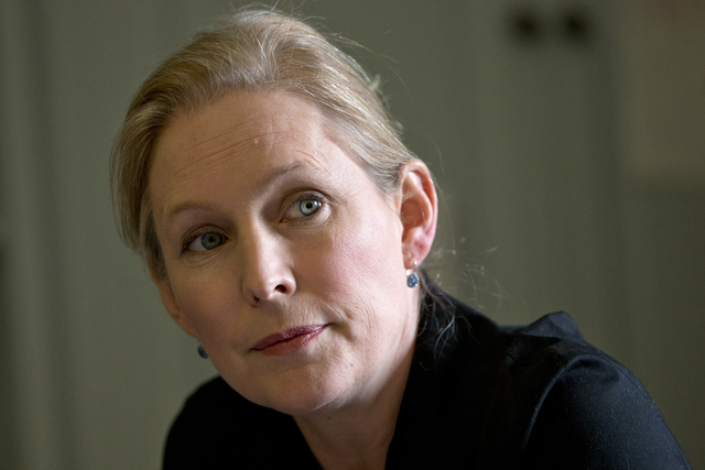 In this April 30, 2015 file photo, Sen. Kirsten Gillibrand, D-N.Y. is interviewed about military sexual assaults on Capitol Hill in Washington. (AP Photo/Jacquelyn Martin, File)