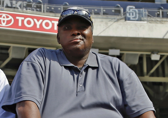 FILE - In this June 11, 2013 file photo, Hall of Famer Tony Gwynn watches batting practice during warmups prior to a baseball game between the San Diego Padres and the Atlanta Braves in San Diego. ...