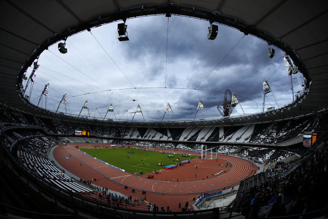 This Saturday, May 5, 2012 file photo shows the Olympic Stadium in the Olympic Park in London. The IOC says 23 athletes have tested positive in reanalysis of their doping samples from the 2012 Lon ...