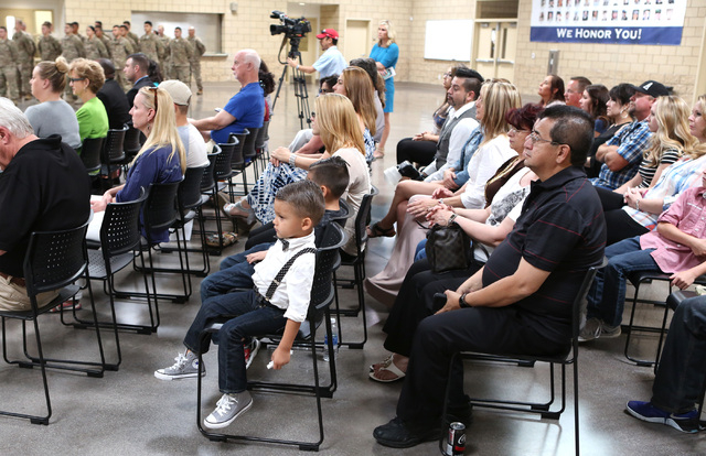 Friends and family members attend a homecoming ceremony for the Nevada Army National Guard's 72nd Military Police Company at North Las Vegas Readiness Center Friday, 13, 2016. Bizuayehu Tesfaye/La ...