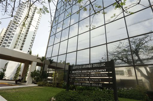 A marquee of the Arango Orillac Building lists the Mossack Fonseca law firm in Panama City, Sunday, April 3, 2016. German daily Sueddeutsche Zeitung says it has obtained a vast trove of documents  ...