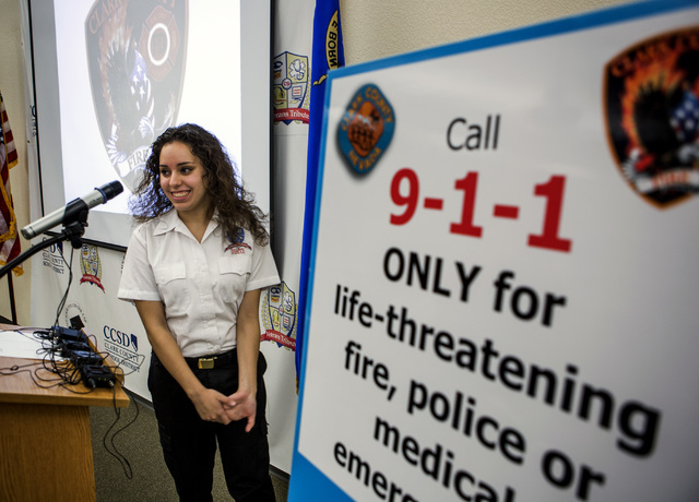 Lin Martinez, a student in the 911 Program at Veterans Tribute Career and Technical Academy speaks during a press conference on Tuesday, May 10, 2016. (Jeff Scheid/Las Vegas Review-Journal Follow  ...