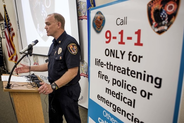 Clark County Fire Chief Greg Cassel speaks at a press conference about when to call 911 at Veterans Tribute Career and Technical Academy on Tuesday, May 10, 2016. (Jeff Scheid/Las Vegas Review-Jou ...